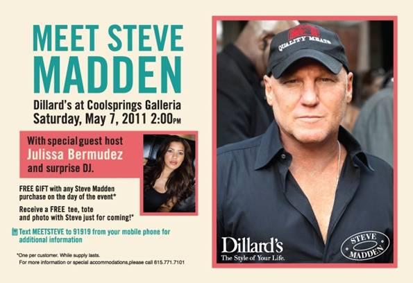 Event Meet Shoe Designer Steve Madden At Cool Springs Galleria