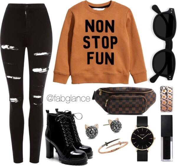 Halloween inspired look with items from your closet. Sweatshirt, trendy jeans, and a sack for candy.